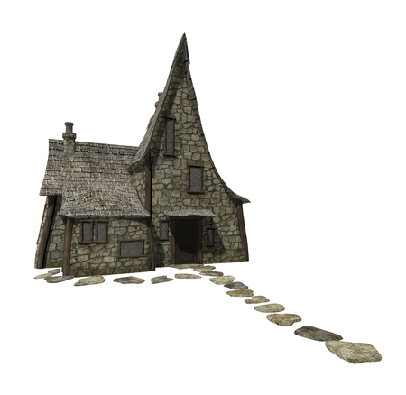 3d render of a spooky, haunted witch house isolated on a white background
