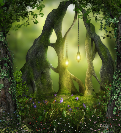 3d render of magical forest fairy lights in an enchanting forest
