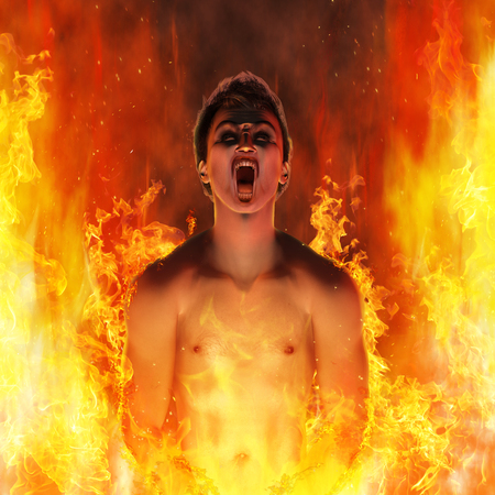 Rendered illustration of a tormented, screaming man burning in the fire of hell