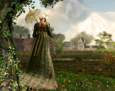 Rendered image of an elegant Jane Austen style woman strolling the countryside, Regency dress Stockfoto
