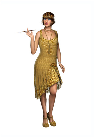 3D illustration of a beautiful young woman wearing a vintage 1920s flapper dancer dress and carrying a cigarette holder, isolated on white