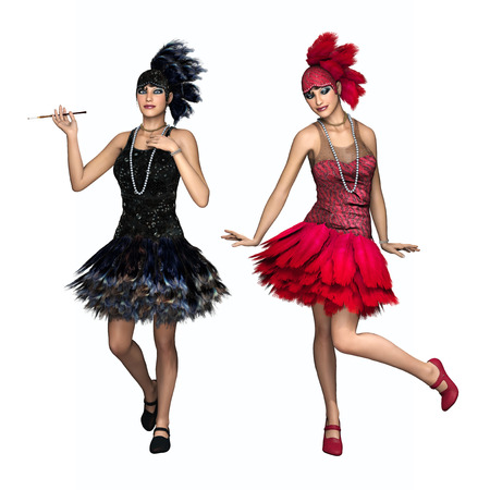 3D illustration of two beautiful young women wearing a vintage 1920s flapper dancer dresses, isolated on white