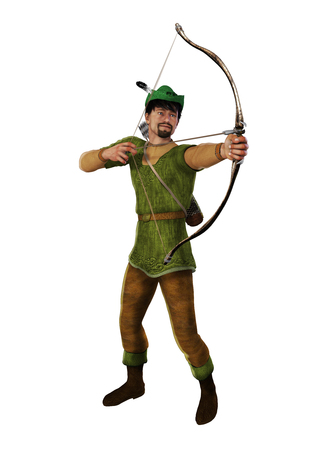3d illustration of the heroic outlaw Robin Hood, from English folklore. The highly skilled archer takes aim Archivio Fotografico