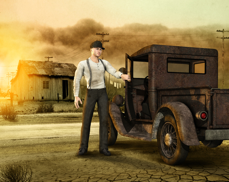 3d illustration of a working man, migrant, leaving his farm during the dust bowl era, the great depression in the USA