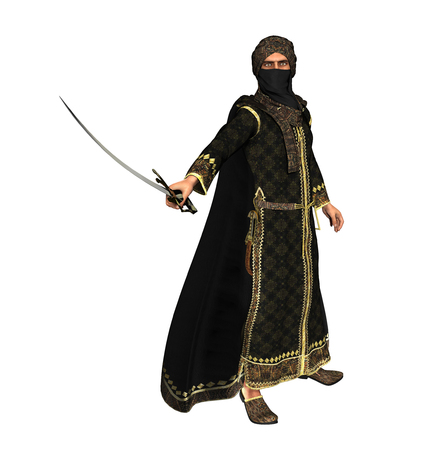 3d illustration of a Muslim Warrior Prince with a Scimitar Sword, isolated on white