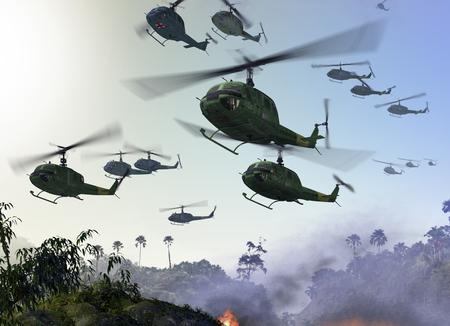 Huey Military Helicopters flying over a jungle environment during the Vietnam War. 3d render illustration Archivio Fotografico
