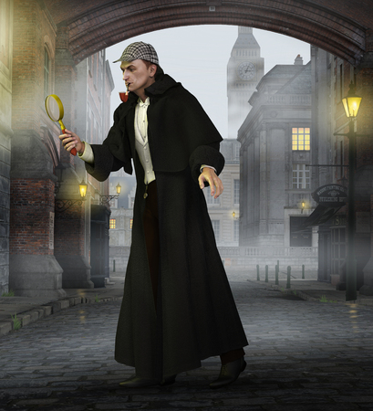 Famous English detective   investigates a crime in 19th century London, UK street. Wearing his classic wool cape coat, a deerstalker hat and smoking a calabash pipe. 3d render Banco de Imagens - 104426116