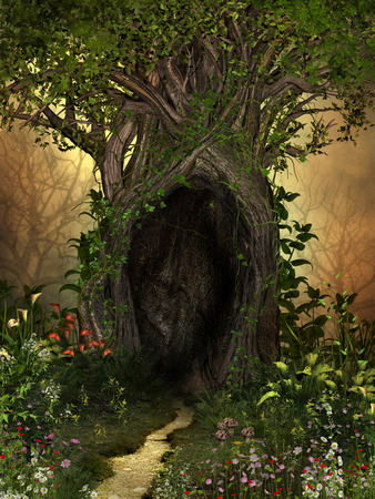 Magical tree with a large cave framed by flowers and plants. A green oasis in a barren forest. 3d render illustration,