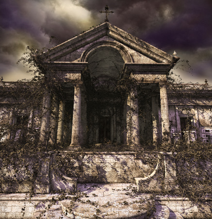 Doorway to creepy, haunting, decaying ruins of an ancient temple, church, tomb or mausoleum, covered with ivy. 3d render