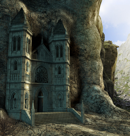 Doorway to an enchanting hidden sanctuary temple high up in the mountains. 3d render painting