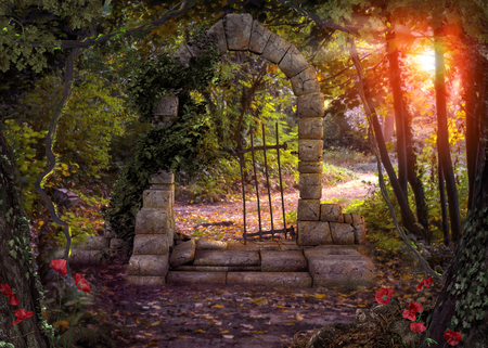 Magical gate doorway path in a enchanted fantasy forest. 3d render Banque d'images
