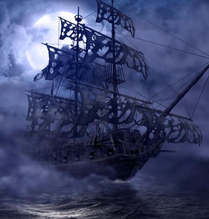 Navegando el barco fantasma pirata, Flying Dutchman, en alta mar en una noche iluminada por la luna, pintura de render 3d