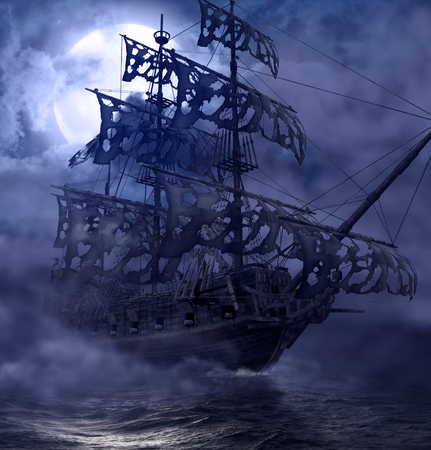 Sailing pirate ghost ship, Flying Dutchman, on the high seas in a moonlit night, 3d render painting Stockfoto