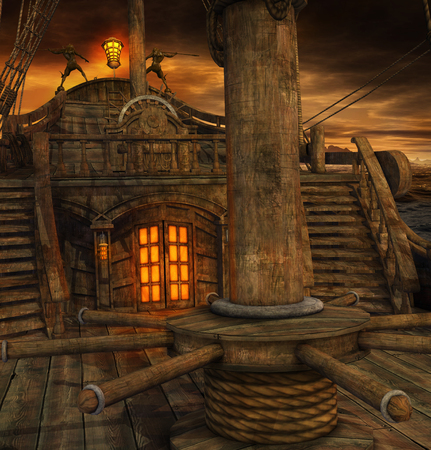 Cubierta de barco pirata con escaleras a la cocina y puerta a la cabina del capitán, render 3d