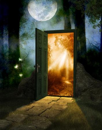 Madera mágica de hadas en la noche y la luna llena con una puerta a un nuevo mundo, render 3d