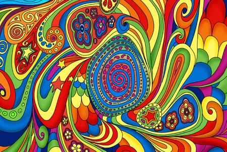 Patrón, Ilustración de diseño de garabatos dibujados a mano. Ilustración de niños, lindo fondo. Fondo de color doodle. Aspecto psicodélico de los años 60
