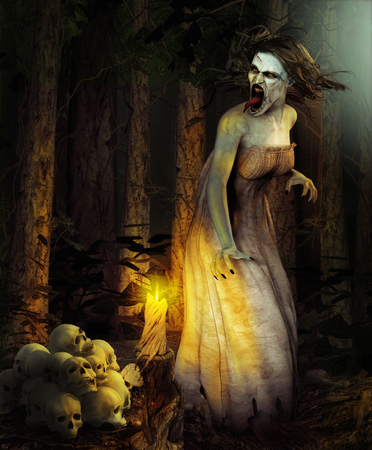 Scary demon witch surrounded by human skulls in a dark deep magical forest
