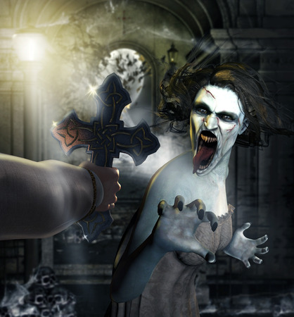 Terrifying concept of a scary female vampire is attacked by a hunter with a holy cross, 3d render