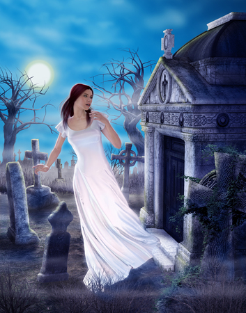 An enchanting female ghost griefing a lost love in a spooky ancient cemetary, 3d render painting Reklamní fotografie - 110349276