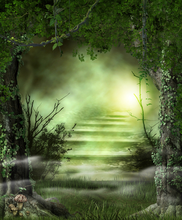 Concept of enchanting forest path stairs leading to a heavenly, magic light, 3d render 版權商用圖片