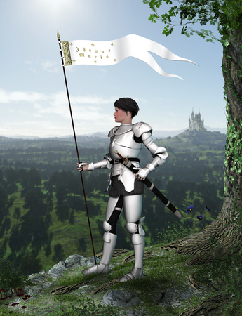Portrait of Joan of Arc (Jeanne d'Arc) in full armor watching a French landscape, 3d render,  免版税图像