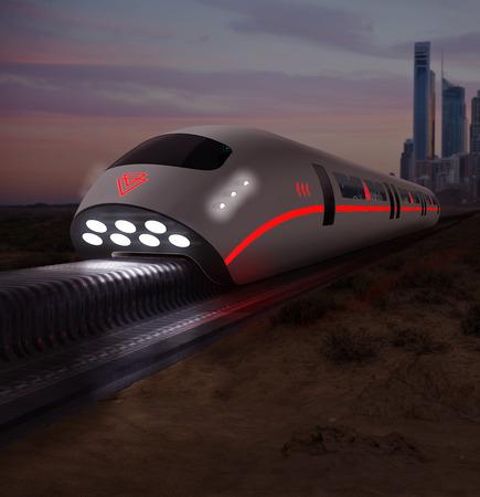 Concepto de un tren monorraíl de alta velocidad futurista con levitación magnética que conecta una ciudad, render 3d Foto de archivo