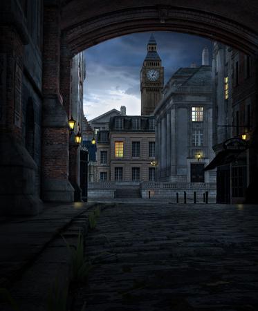 3D-Darstellung einer Londoner Straßenszene in der Nacht mit Stadtgebäuden aus dem 19. Jahrhundert und Big Ben Standard-Bild
