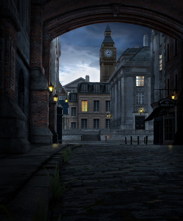 3D render of a London street scene at night with 19th century city buildings and Big Ben