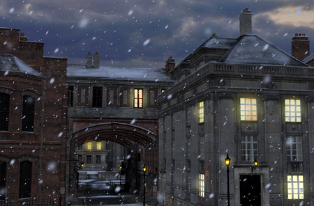 3D render of a winter street scene at night with 19th century city buildings  Stock fotó