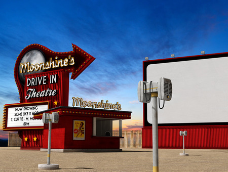 Traditional 1950s drive-in movie theater, cinema at dusk, 3d render, illustarion Stockfoto - 120431847