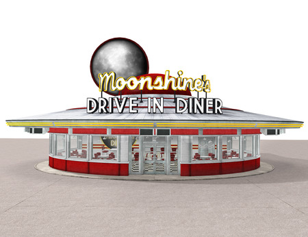 1950s American Drive-In Diner isolated on white background, 3d render