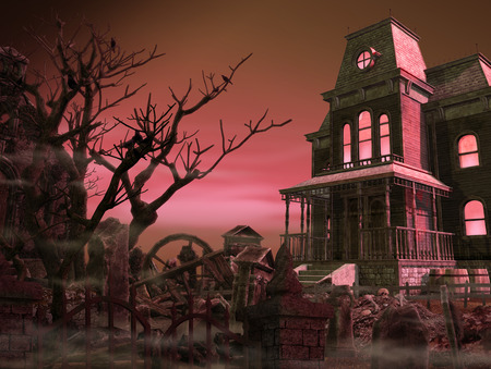 Spooky, scary mansion surrounded by an old graveyard halloween night, 3d render illustration Stock Photo