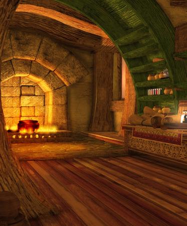 Ein Fantasy-Höhlen-Interieur, eine mögliche hüttenähnliche Residenz für einen Zauberer, 3D-Rendering