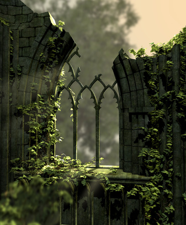 Gothic old ruins covered with ivy, 3d render