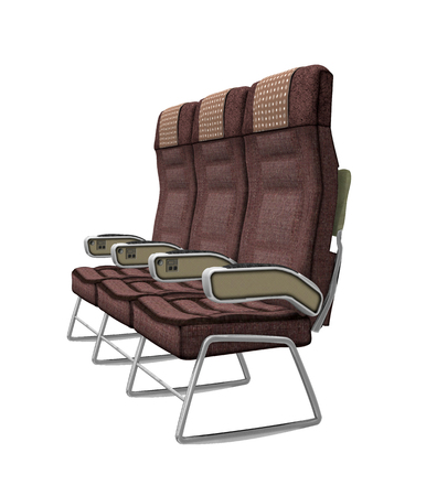 Airplane seats isolated on white background, 3d render