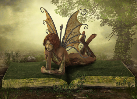 Enchanting elemental Earth fairy lying on an opened book in a fantasy landscape, 3d render