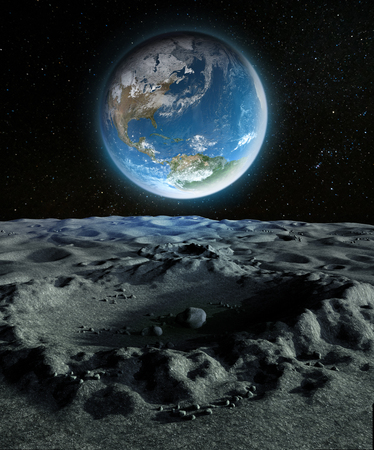 Our blue planet Earth as she appears from a crater on the moons surface, 3d render painting