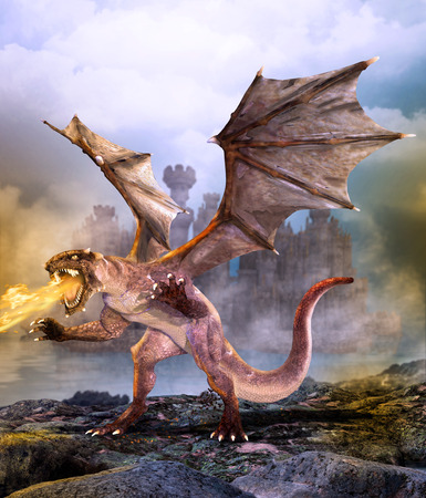 Fantasy scene dragon attacking castle, 3d render painting