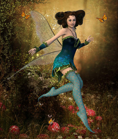 A beautiful fairy girl in an enchanting hidden forest surrounded by butterflies, 3d render painting