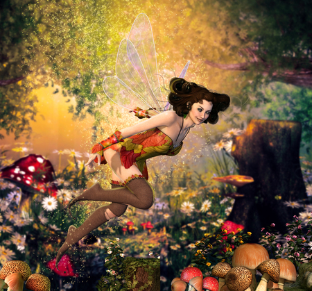 A beautiful fairy girl flying through an enchanting hidden fantasy forest surrounded by butterflies, 3d render painting