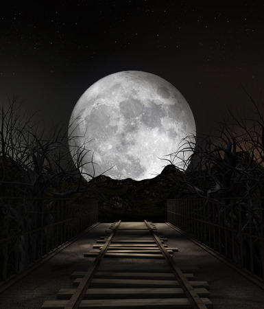 End of the line, scenery of a ruined railway bridge leading to nowwhere under a full moon, 3d render painting