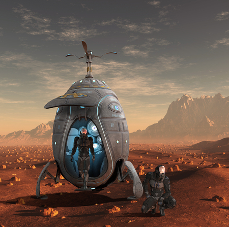 A human spacecraft lands on the red planet, Mars; in an alien landscape, 3d render