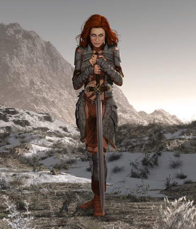 Savage barbarian swordswoman beauty poses in a forsaken landscape, 3d render