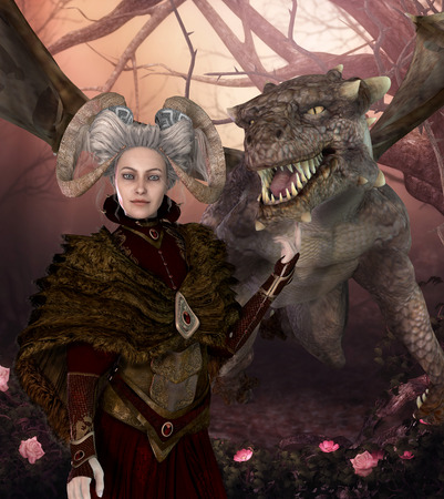 Enchanting dragon mother with a fantasy hairstyle and fantasy clothes  lovingly strokes a magical dragon, 3d render Stockfoto