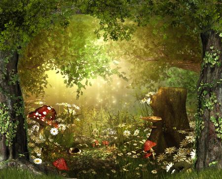 Hermoso y encantador bosque exuberante de cuento de hadas, render 3d