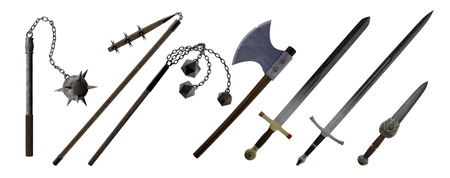 Medieval Hand Weapons, Ax, Sword, Dagger, Morning Star, isolated on white, 3d render