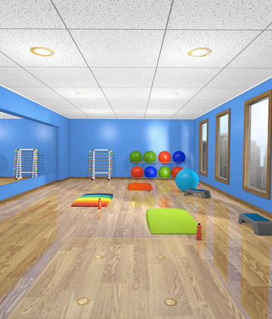 A women's fitness, yoga, exercise room with weights, yoga mats, fitness balls and steppers in a hotel gym with many large windows, 3d render Banco de Imagens