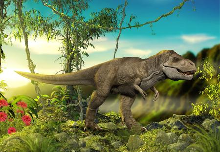 Viscious and dangerous predator dinosaur T-Rex hunting for prey in prehistoric forest, 3d render