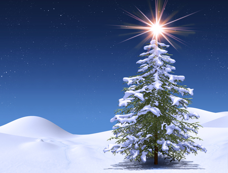 Enchanting winter tree at a magical Christmas starry cold night, 3d render 写真素材