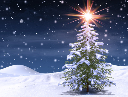 Enchanting winter tree at a magical Christmas cold snowing night, 3d render